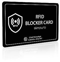 RFID Blocker Karte NFC Schutzkarte - Störsender Technologie 2020 - Eine Karte schützt - Nur 0,8 mm dünn - Keine Schutzhüllen mehr - Schutz Dank E-Field - Kreditkarte Schutz