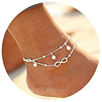 Bodhi2000 2 Layers Anklet Chain Boho Beach Sandal Barefoot Charm Bead Ankle Bracelet