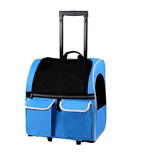 Rolle um 4-in-1 Haustier Träger tragbare Fluggesellschaft genehmigt Reise Rucksack Tasche für Hunde Katzen kleine Tiere (Blau) Haustiere Träger