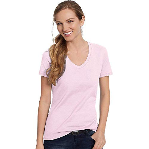 Hanes by Women's Nano-T V-Neck T-Shirt, Pale Pink, XS (Jersey Fine T-shirt Tag)