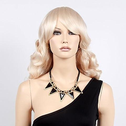 stfantasy Perücken für Frauen Lang Gewellt hitzbeständige Kunsthaar 53,3cm 411g mit Pony Wig peluca frei Hair Net + Clips, Blond