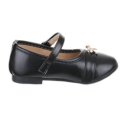 Kinder Schuhe, H1102, BALLERINAS MIT DEKO VERZIERTE Schwarz