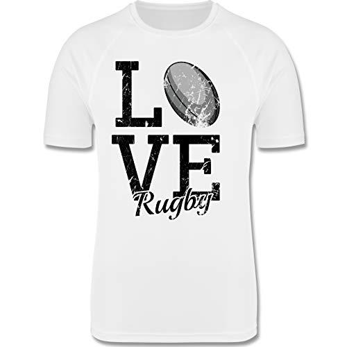 Sport Kind - Love Rugby - 140 (9/11 Jahre) - Weiß - F350K - atmungsaktives Laufshirt/Funktionsshirt für Mädchen und Jungen