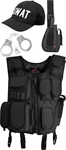 normani SWAT Kostüm bestehend aus Weste, Pistolenholster, Cap und Handschellen Farbe Black Größe (Kostüm Pistolenbeinholster)