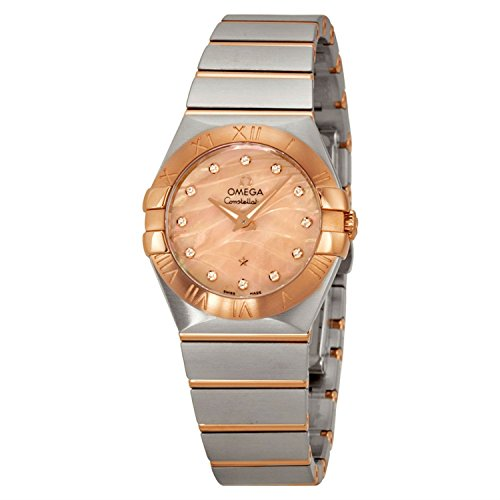 OMEGA Women's 27mm Two Tone Steel Bracelet & Case Swiss Quartz Gold-Tone Dial Watch 123.20.27.60.57.002