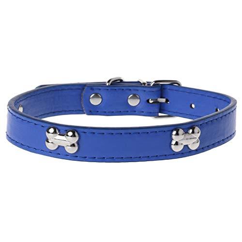 Xuniu Knochenform Haustier Hundehalsband, PU Leder verstellbar Puppy Cat Strap Kragen blau 32-40 cm