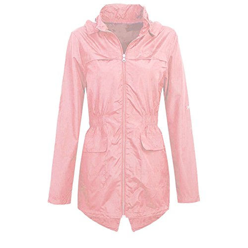 Girls Kids Hooded Mac Light Showerproof Rain Jacket PalePink_Age_7-8