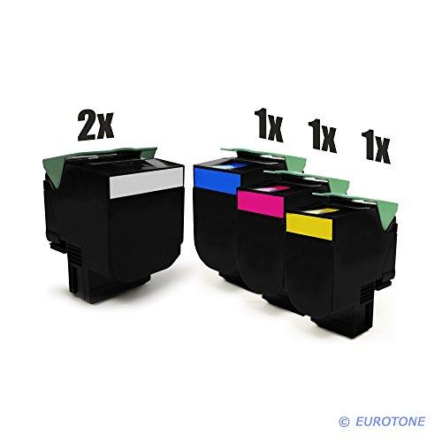Preisvergleich Produktbild 5er Set Eurotone Kompatible Toner XXL für Lexmark CX510de / CX510dthe / CX510dhe Drucker - ersetzt 802K 802C 802Y 802M im Sparpack - 2x schwarz