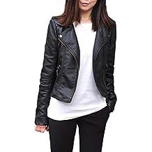 JackenLOVE Primavera y Otoño Mujer Cuero Chaquetas Slim PU Corto Jacket de  Moto Coat Cazadora Remata 64b53e5b8056