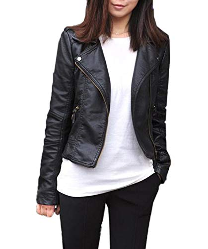 various colors 21630 9902d Moceal Donna Giubbotto di Pelle Slim Chiodo Giacca Pelle Biker Giacchetto  Giacca in Pelle Moto