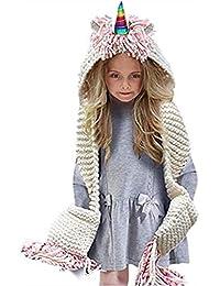 Z-YQL - Babero de punto para niños y niñas, diseño de unicornio, para otoño e invierno