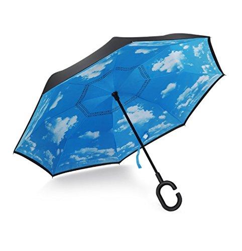 NWSS Inverso pieghevole Doppio strato rovesciato Ombrello e Self Standing Alla rovescia Protezione pioggia Ombrello con C-forma Mani libere Handle Umbrella
