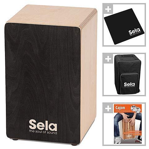 Sela SE 120 Primera Cajon Einsteiger-Bundle mit Rucksack, Sitzpad und Anfängerschule, CD/DVD, Schwarz