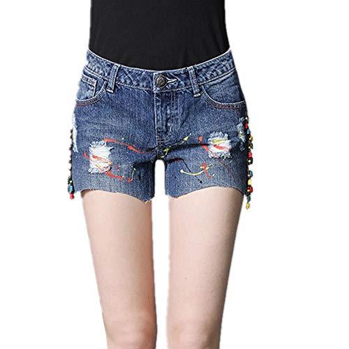 NYSLTC Loch Denim Shorts Sommer Denim Jeans zerrissene Kanten Persönlichkeit Gießen Farbe wild blau M
