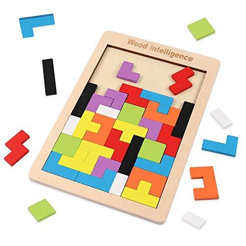 Coogam Rompecabezas de Tetris de Madera Juego de Inteligencia de Rompecabezas de Tangram para bebés (40 Piezas)