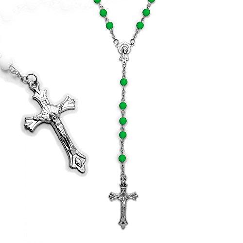 SoulCats® Rosenkranz in verschiedenen Farben Kette Kreuz blau rosa gelb grün schwarz, Farbe:neon grün