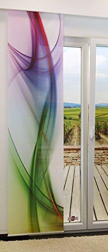 Flächengardine von LYSEL® - Swirl lichtdurchlässig mit Motiv in den Maßen 245 cm x 60 cm grün/Spektral