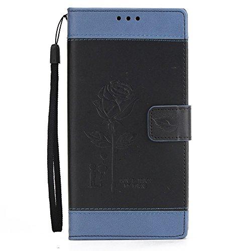 EKINHUI Case Cover Gemischte Farben Rose Blume matt Premium PU Leder Brieftasche Stand Case Cover mit Lanyard & Card Slots für Sony Xperia XZ Premium ( Color : White ) Black