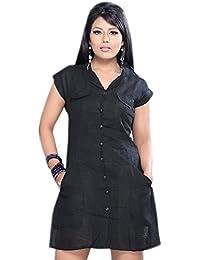 1545 de de vestido corta casual Tamaño grande manga Negro túnica Designs extra mujeres las 6f6waq