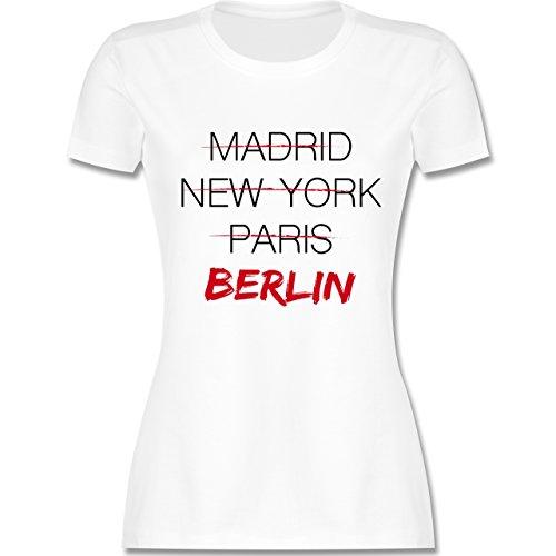Städte - Weltstadt Berlin - tailliertes Premium T-Shirt mit Rundhalsausschnitt für Damen Weiß