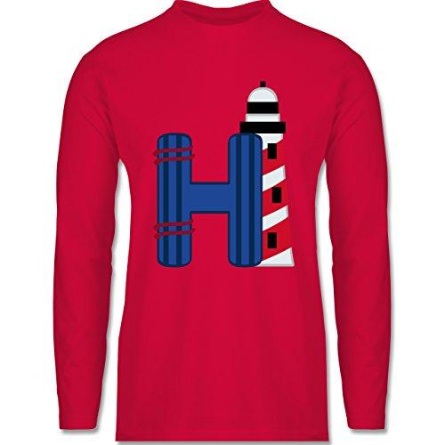 Anfangsbuchstaben - H Schifffahrt - Longsleeve / langärmeliges T-Shirt für Herren Rot
