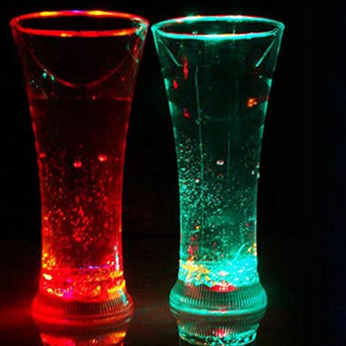 Erjialiu Led Glowing Light Up Ice Cubes Langsam Blinkende Farbwechsel Cup Licht Ohne Schalter Für Hochzeitsfest-Dekoration,500 ml