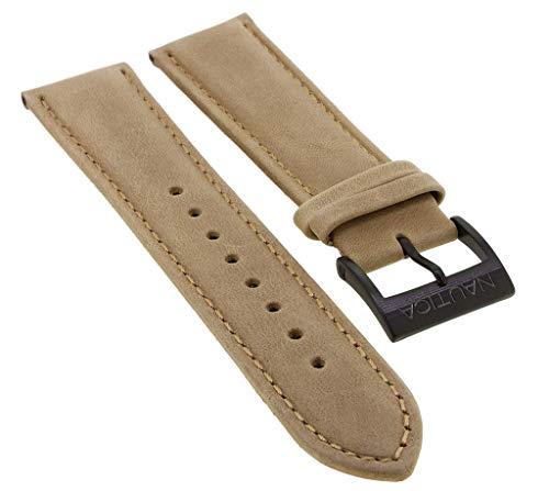 Nautica Ersatzband 22mm | Uhrenarmband aus Leder in braun mit schwarzer Schließe | NAI17507G