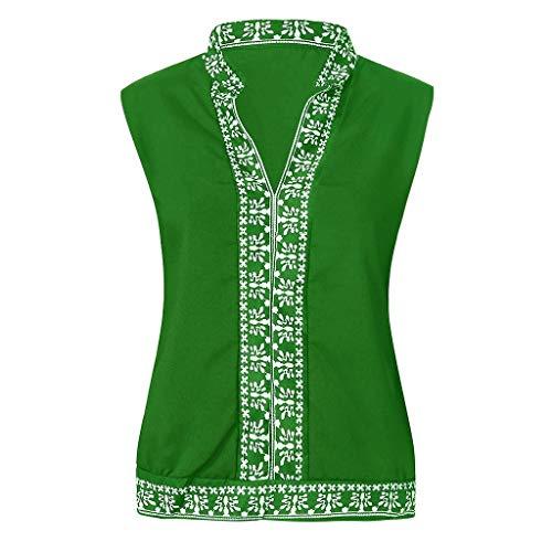 fazry Bluse und Tops für Frauen, Schulterfrei, Strand-Sonnenschutz, Trompete, ärmellos Gr. Large, grün - Bier Humor Grünes T-shirt