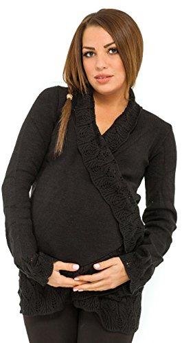 Happy mama. donna prémaman giacca di maglina. cardigan bordi all'uncinetto. 406p (nero, one size it 42/44/46)
