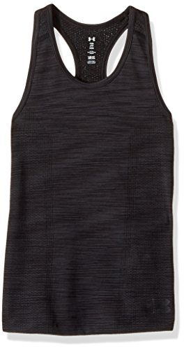 Under Armor Girls' Elevated Seamless Tank, Black/Black, Youth X-Small (Racer Silhouette)