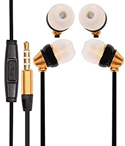 Premium 3.5mm In Ear Bud Handsfree Headset Earphones With Mic Compatible For LG Band Play -Gold