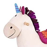 B toys - Dilly Dally Wooden Rocking Unicorn - Rodeo Rocker - BPA Free Soft Riding Toy for Toddlers and Babies 18m+