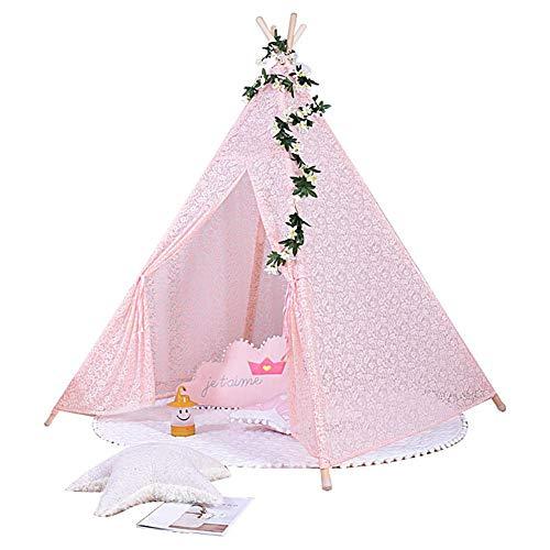 Jannyshop Tipi Tienda de Campaña de Encaje para Niños Tipi para Dormir Decoración Dormitorio Rosado