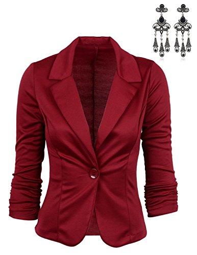 MODETREND Damen Blazer Tailliert Kurz Elegante Langarm Slim Business Anzug Casual Einreihig Kurzblazer Mantel Jacke Oberteil (M, Rot) (Mantel Jacke Blazer)