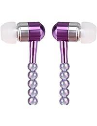 Magiyard 3.5 mm en la oreja collar de perlas estéreo auricular auriculares auriculares de música súper bajo auriculares (Púrpura)