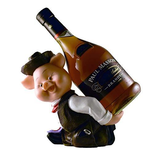 in Figur Wein und Likör-Flaschenhalter, Wohn- und Küchen-Dekor für Weinliebhaber, Tischplatte Country Farmer Bar Ständer Theke Weinregal Zubehör braun ()