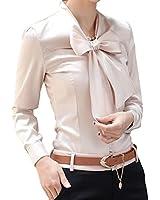 BININBOX Elegant Damen Bluse mit Schleife Langarm Hemdblusen Regular Fit Chiffonbluse Tuniken Oberteil Langarmshirts