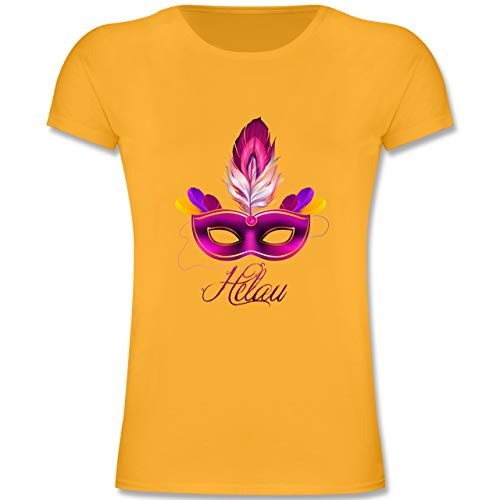 Anlässe Kinder - Maske Helau - 128 (7-8 Jahre) - Gelb - F131K - Mädchen Kinder T-Shirt