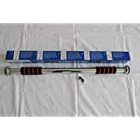 Doorway pull-up bar with heavy-duty, adjustable frame