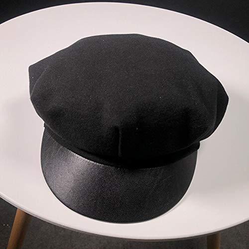 Imagen de sggsgg periódicos de otoño e invierno para damas, sombreros para niños, sombreros de invierno, boinas, sombreros de fieltro de lana de color liso,  militares para damas