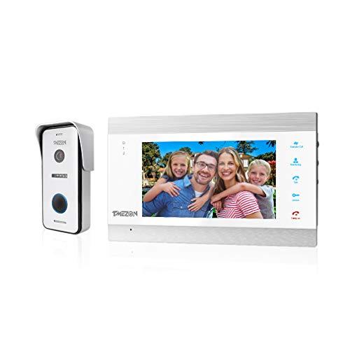 TMEZON Video Türsprechanlage Türklingel Intercom System, Türsprechanlage mit 1080P 7 Zoll 1-Monitor 1-Kamera Für 1-Familienhaus, Touch-Taste, Nachtsicht, Unterstützung automatisch Snapshot/Aufnahme