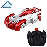 Animate Remote Control Car Toy, Rechargeable RC Wall Climber Car For Kids Boy Girl Birthday Present With Mini Control Dual Mode 360° Rotating Stunt Car LED Head Gravity Defying, Red