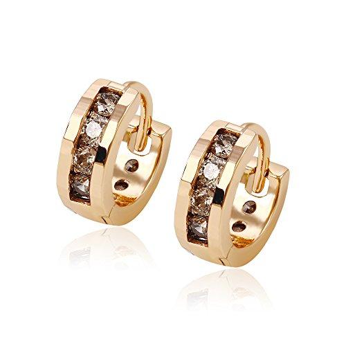 XUPING Charming Glatte 18 K Gold Farbe vergoldet Inlay Runde CZ Baumeln Hoop Ohrringe für Damen