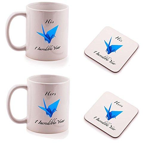 Papier 1. Hochzeitstag HIS und HERS Tasse und Untersetzer Geschenk-Set–(2Stück)