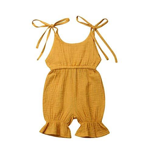 Baumwolle Kleinkind Kleidung (WANGSAURA Baby Mädchen Junge àrmellos Gekräuselte Einteiliger Strampler Kleinkind Spielanzug 0-24 Monate Prinzessin Neugeborenes Kleidung, Gelb Ohne Knopf, 80 für 12-18 Monaten)
