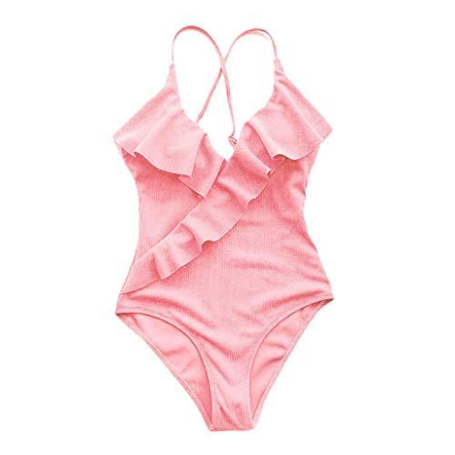 VIccoo Frauen Plus Size Sexy Einteiliger Bikini Tiefem V-Ausschnitt Cross Wrap Vorne Rüschen Volant Monokini Thread Stripes Feste Badeanzug Riemchen Backless Beachwear - Rosa - S