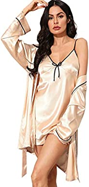 SheIn Women's Sleepwear Two Piece Lace Satin Cami V Neck Lingerie Dress with Belted