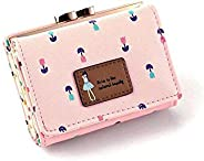 Large capacity cute girl flowers pattern pink leather fashion short wallet purse for women DKQB-7X