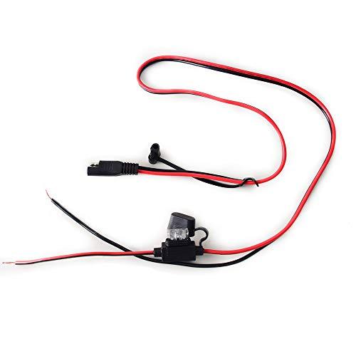 Preisvergleich Produktbild Cocar 12 / 24V 2.5 FT Auto SAE Schnelltrennadapter Stecker zu Verlängerung Direct Wire Rohe Kabel Adapter 15A Schwerlast Ladegerat Kupfer Draht für Solar Panel Autobatterie