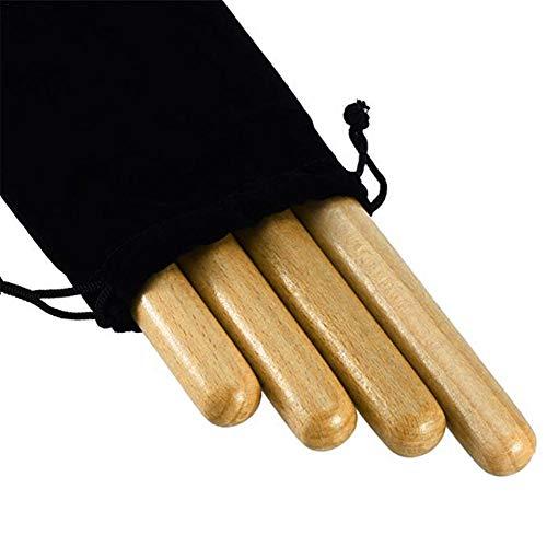 bozitian Schlagwerk Hölzerner Stock Musikinstrumentzubehör 2 Paar Klassisches Massivholz Aus Hartholz Claves Percussion Instrument 8-Zoll Rhythmus Sticks Mit Einer Tragetasche